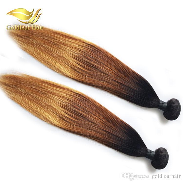 10-26 pulgadas pelo humano brasileño Ombr 1B 4 27 Recto 3 piezas Ombre cabello humano que teje extensiones de cabello Ombre