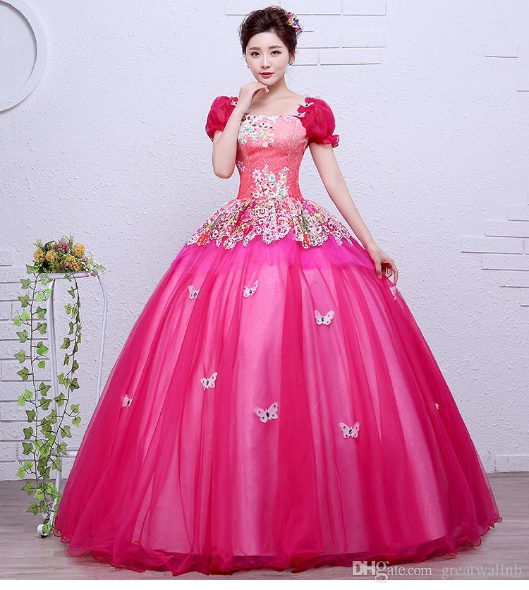 luxury hot pink butterfly flower bubble sleeve ball gown sissi princess  medieval dress Renaissance Gown princess Victorian belle ball gown