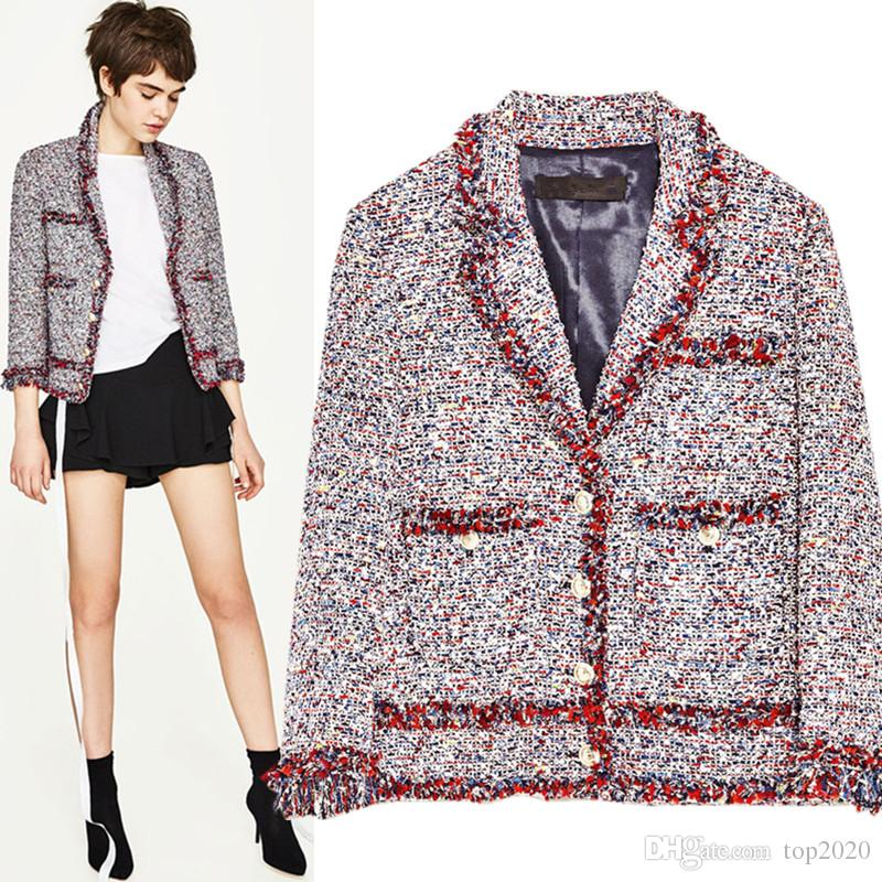 585cca46a6483 2019 Women Winter Ladies Woven Tweed Color Lace Tassel Jacket Luxury Famous  Fashion Brand Top Quality Jacket From Top2020