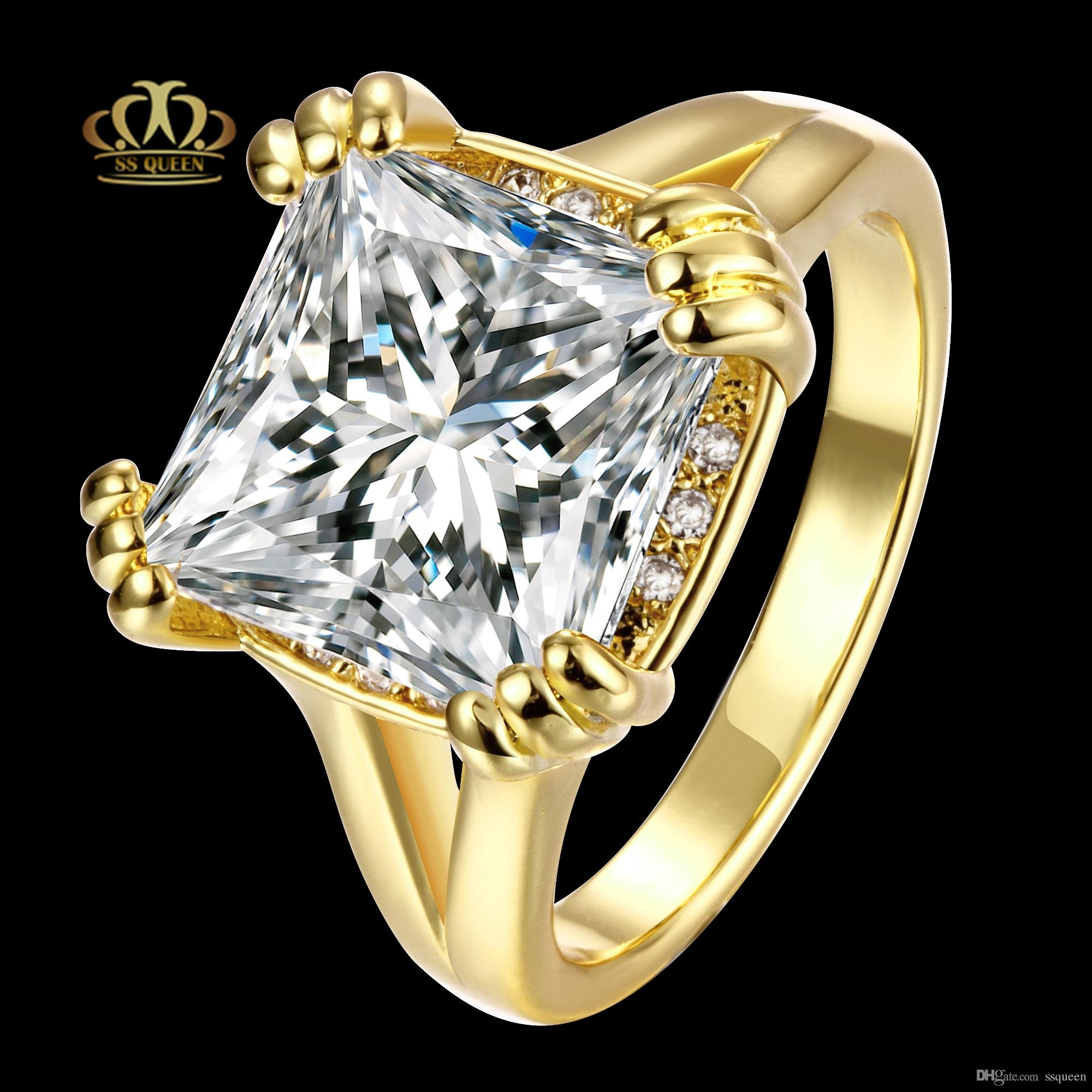 6347c362a8ab1 Top quality 18K gold/ rose gold Plated square princess cut solitary white  cz diamond engagement wedding Rings for women and men