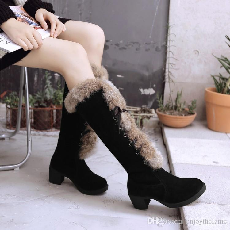6ec7fdbbc3c Korean Style Lace Up Knee Boots Women S Round Toes Flush Inside Snow Boots  Female Chunky Heel Boots Women S Shoes Cat Boots Shoe Sale From  Enjoythefame
