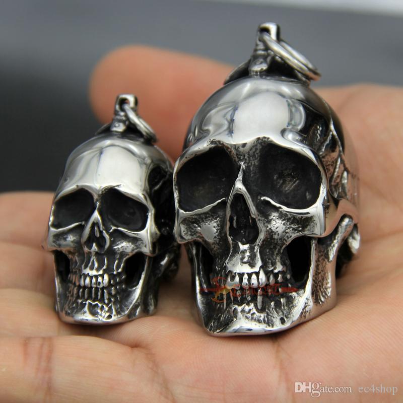 316L Stainless Steel Men's Vintage Heavy Gothic Biker Skull Pendant Necklace Punk Rock Style jewelry