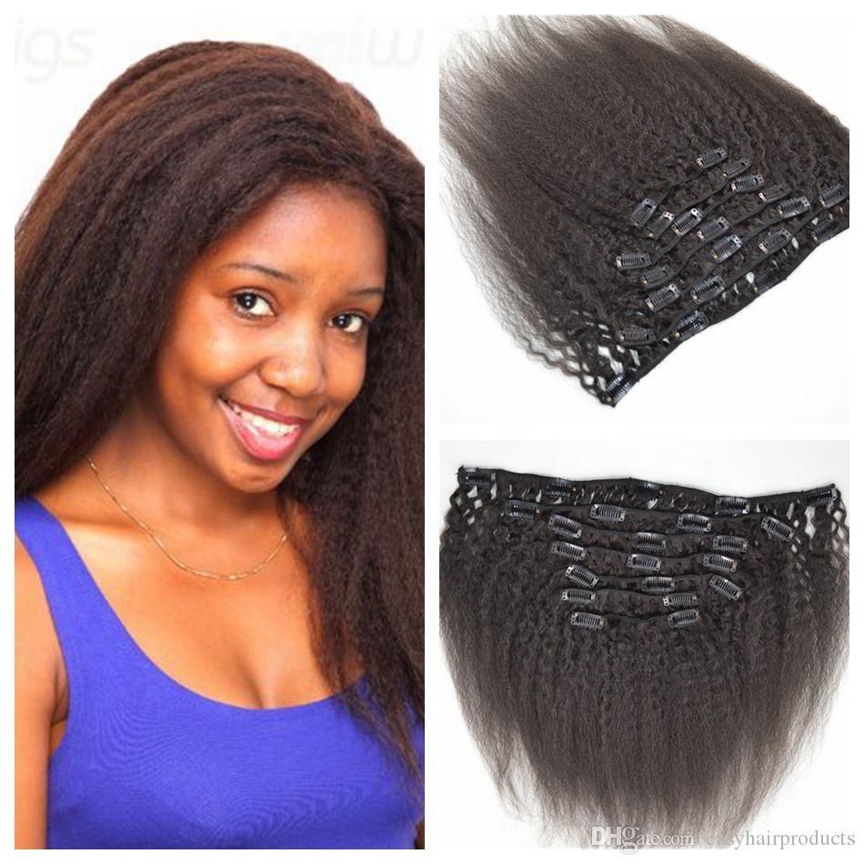 12inch-26inch Full Head Yaki Clip In Hair Extensions natural black coarse yaki Brazilian Human Hair kinky Straight 100% Human Hair G-EASY