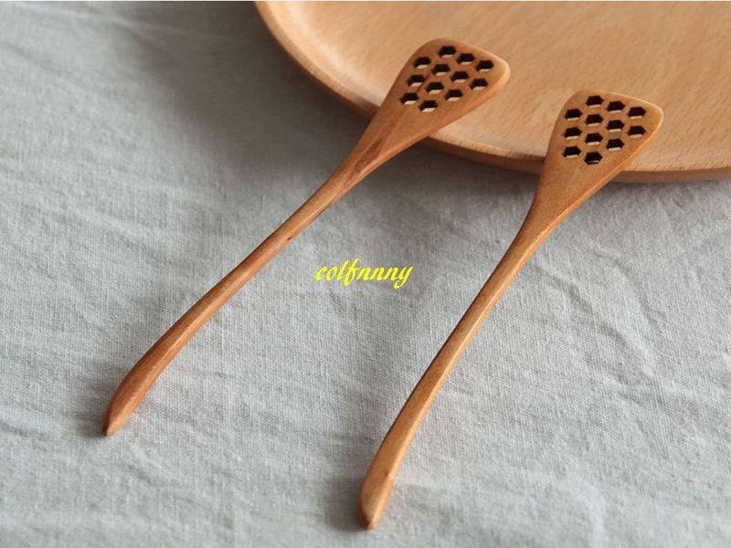 100 шт. / лот натуральный деревянный мед палку кухонные принадлежности мед мешалка помешивая длинная ложка сотовый мед ковш дерево
