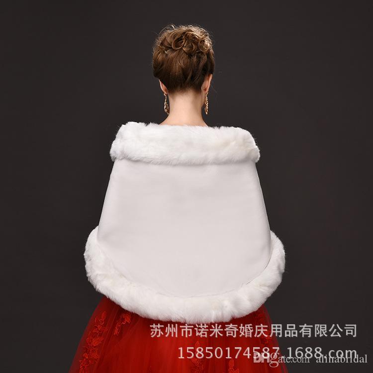 2016 Inverno Nupcial De Pele Wraps 55 cm * 150 Marfim mulheres Xale de lã Quente Vermelho / Preto Lady Wraps Para Occation Ocasional Acessório Especial
