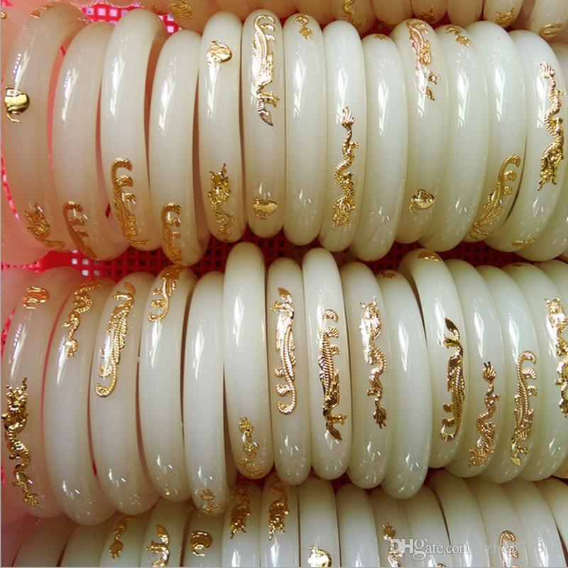 imitation Hetian Jade bracelet or incrusté de Jade Chine Naturel Naturel Blanc Jade Bracelet Glace Waxy Genre pour les femmes 58mm 59mm