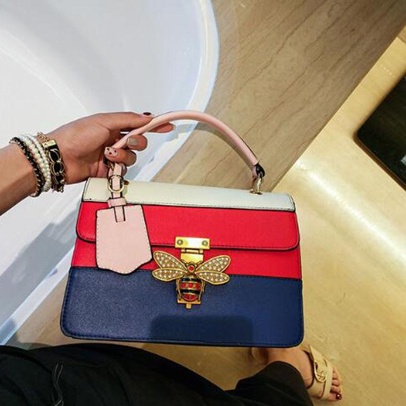 Women's Bags casual Totes New pattern Bee girl PU leather Soft Cross Body Shoulder Bags