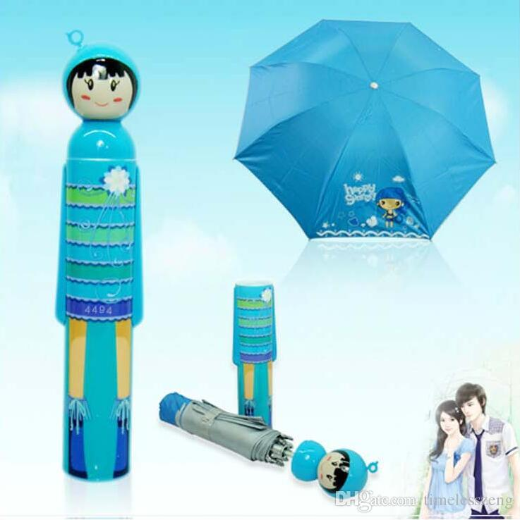 Novelty Kokeshi Doll Folding Umbrella Japanese Dolls Cute Bottle Folding Kimono Girl Traditional Umbrella