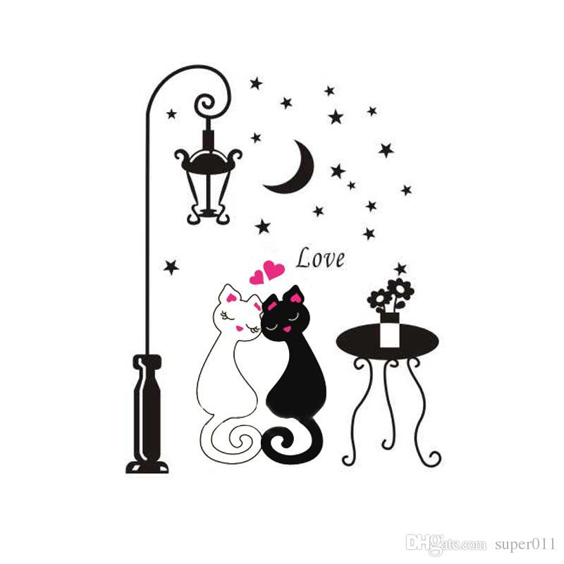 Diy Removable Cartoon Wall Sticker Kids Childrenu0027S Rooms Decor Home  Decoration Decors Cute Couples Cats Decals Adesivo De Parede Wall Clings  Wall Clings For ...
