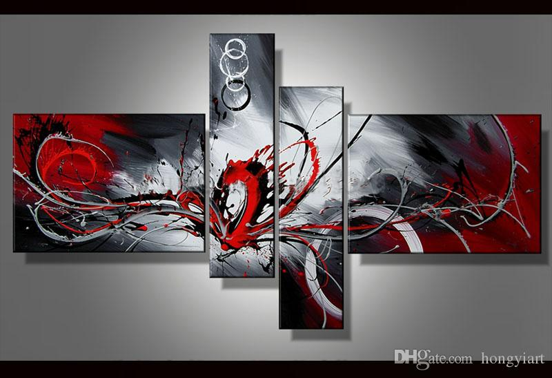 c9125ed6a0d 2019 Contemporary Abstract Oil Painting Canvas Black White Red Artwork  Modern Decoration Handmade Home Office Hotel Wall Art Decor Gift Art Abs48  From ...