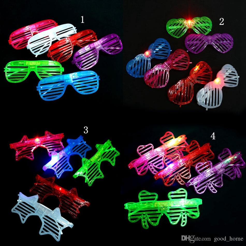 light led glasses shutter star heart shaped bright light party glasses club bar performance glow party dj dance eyeglasses ooa2480 - Led Christmas Lights On Sale