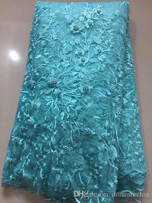 NLBT019 Envío gratis 5 yardas / pc tela de encaje de tul africano de alta calidad con cuentas de tela de encaje neto francés nuevo diseño para vestido