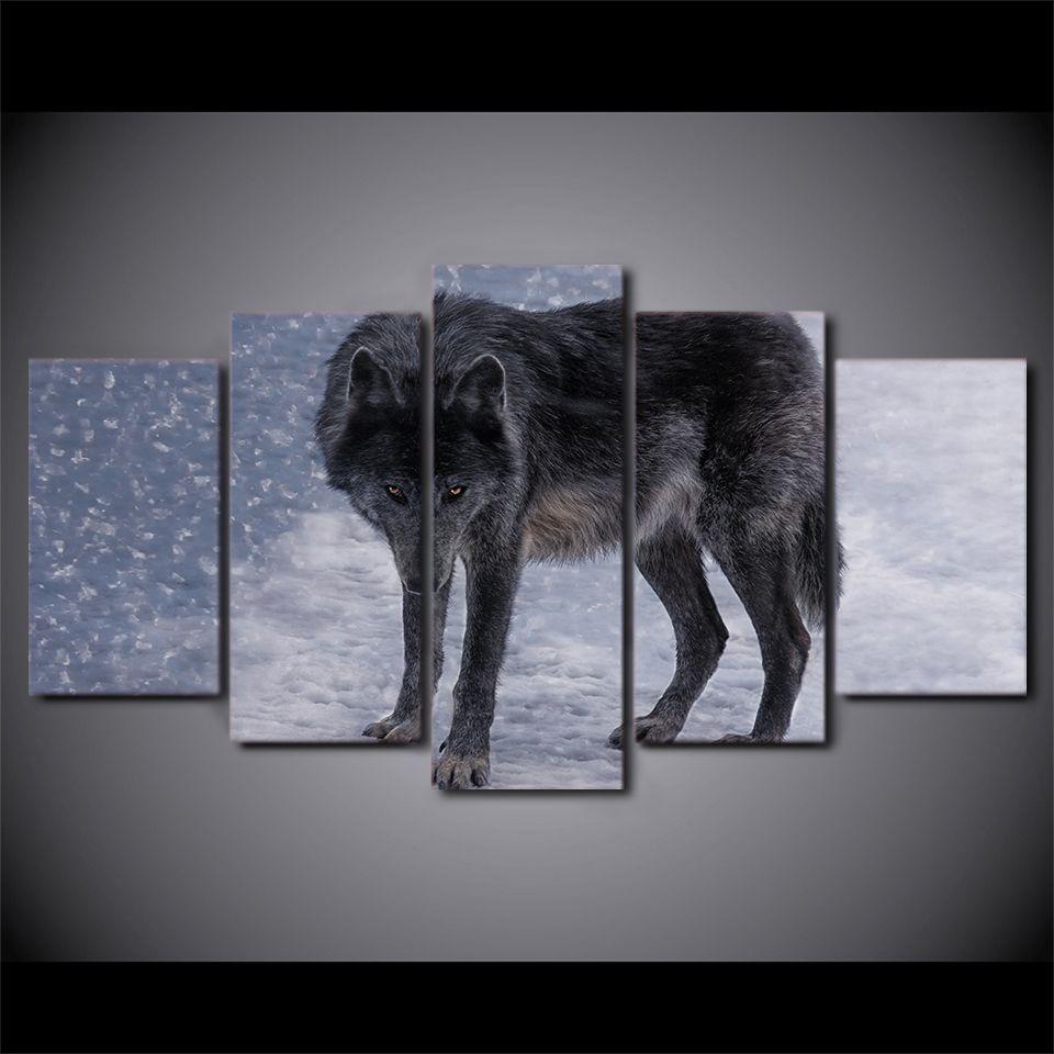 Großhandel 5 Teile / Satz Gerahmte Gedruckt Rote Augen Schnee Wolf ...