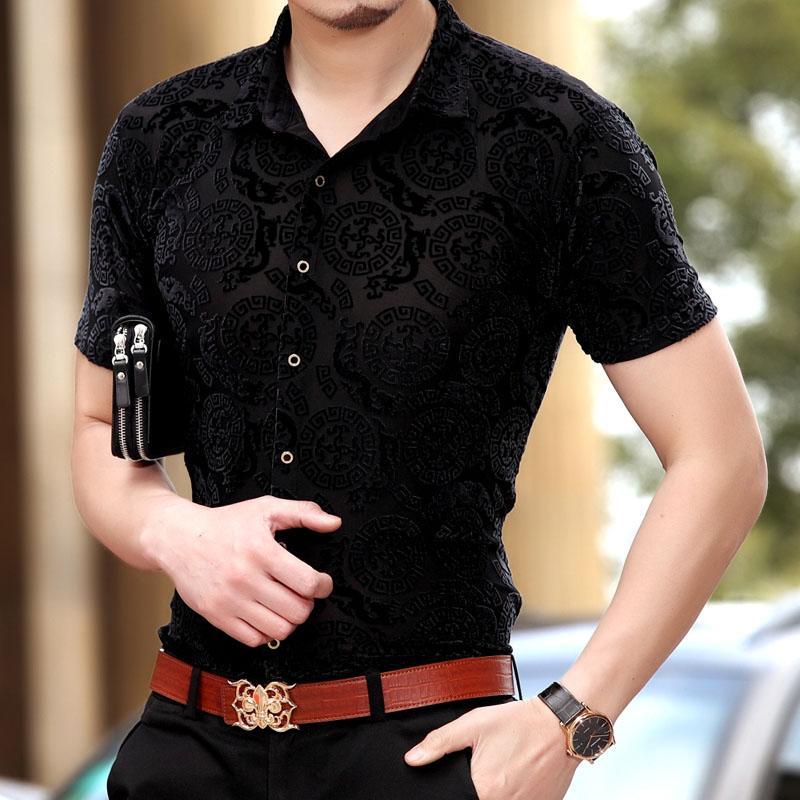 75b48c741131a0 2019 Mens Clothing Transparent Shirts Silk Sexy Mens See Through Casual  Shirts Heren Kleding Abbigliamento Uomo Ropa De Hombre From Jackhuang