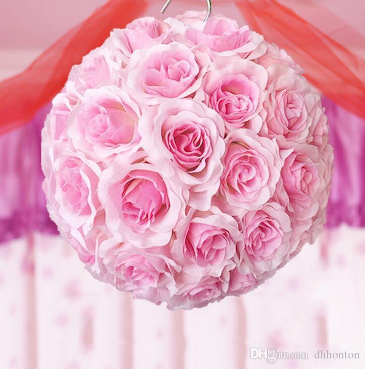 Elegante matrimonio seta Pomander Cripta appesa palla fiore decorare decorazione fiore artificiale la festa di nozze di mercato FB012