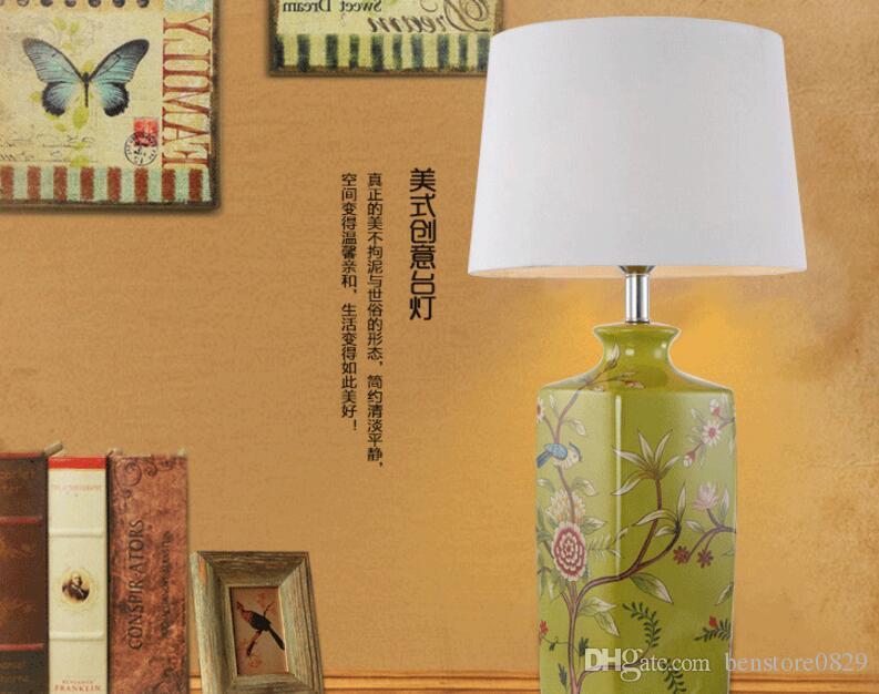 Modern Art Deco Led Lâmpadas De Mesa Cerâmica Luzes Cerâmica Algodão Iluminação Sombra Home Quarto Decoração Luminária de cabeceira