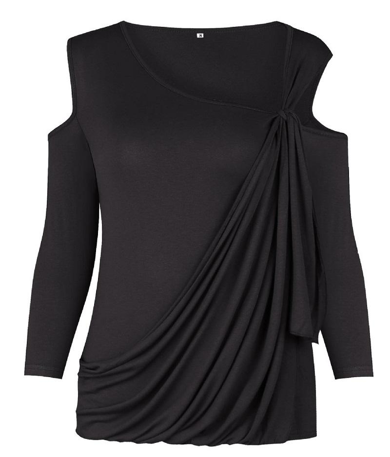 Sexy women tops lady T-shirts off shoulder women blouse in stylish Declining V neck asymmetrical hem ML-8692