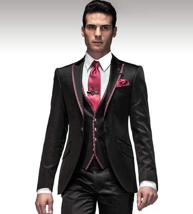 2017 Nen Black Wedding Suits Hot Sale Italian Mens Grooms Tuxedos Customized Groomsmen Suit Business Dinner Jacket Pants Vest Best
