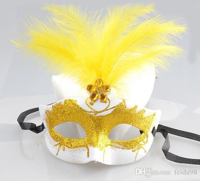 Máscara de Halloween Veneza Beleza Máscara de Penas Rendas Princesa Princesa Maquiagem Bola Criança Meia Máscara Facial