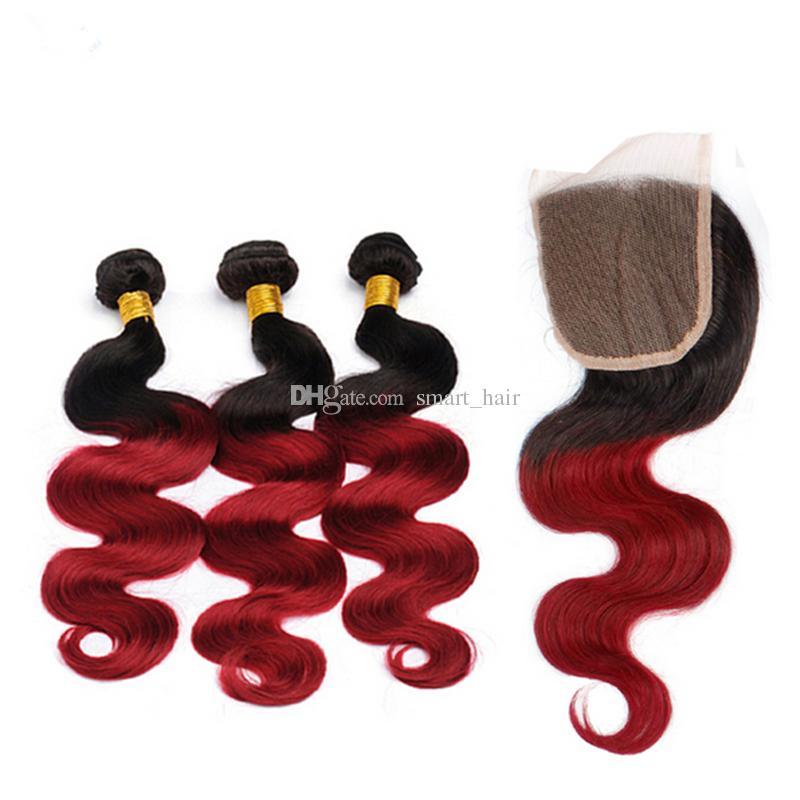 Hpt, das rote Haarbündel # 1B mit Spitze-Schließungs-dunkler Wurzel Ombre-Haar-Webart mit dem brasilianischen Körper-Wellen-Menschenhaar des Spitze-Schließungs-4x4 verkauft