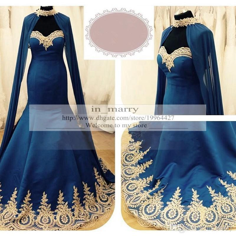 Royal Blue Gold Lace Appliques Arabic Evening Dresses 2016 Mermaid