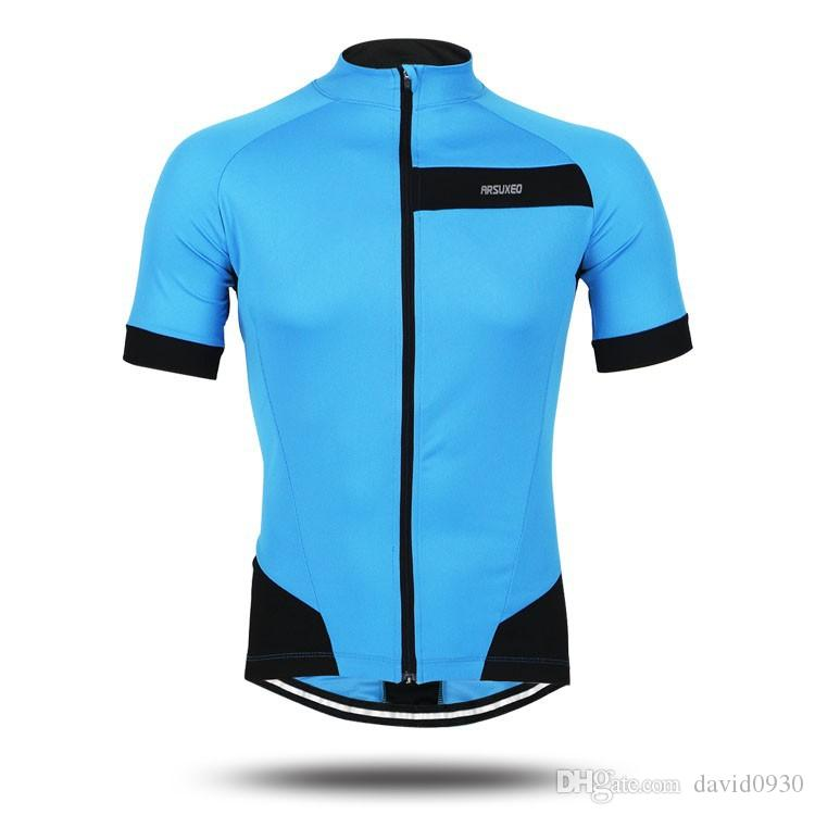 Arsuxeo Men S Summer Short Sleeve Cycling Jersey Bike Bicycle Racing Shirt  Full Zipper Clothing Fluorescent Green Blue Red Baseball Shirts Cycling  Clothing ... 15a5ae950