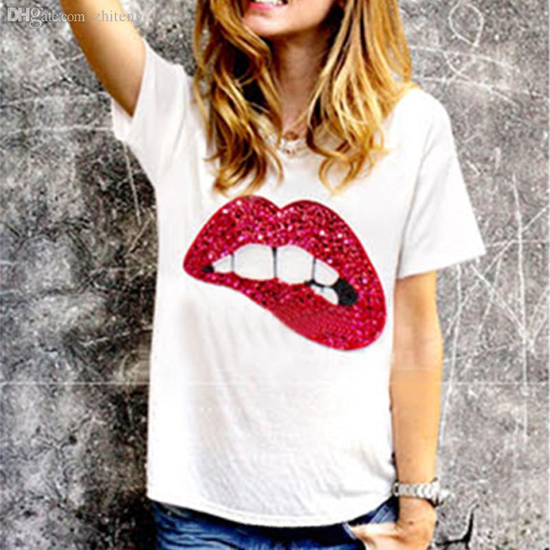d96b7c8c8 Wholesale Casual Shirt Blusas Femininas Sex Mouth Sequins T Shirt Summer  Style Shirts Women Tops *10 T Shirt Shirt Awesome T Shirts For Guys From  Stepheen, ...