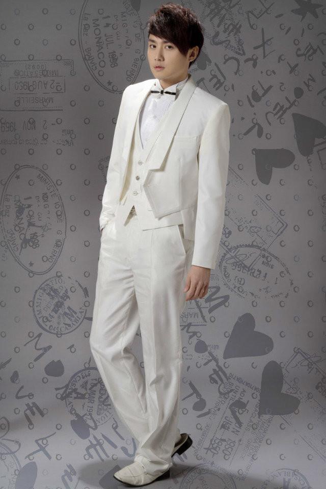 Dashing Custom Made Short Tailcoat Châle Revers Un Bouton Groomsman's Wears Trois Pièces Costumes De Mariage Pour Homme Veste + Pantalon + Gilet