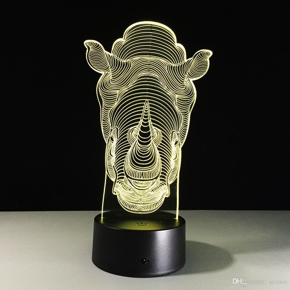 2017 Brand New Rhino 3D Illusion Night Lampada 3D Lampada della luce della batteria DC 5V Dropshipping