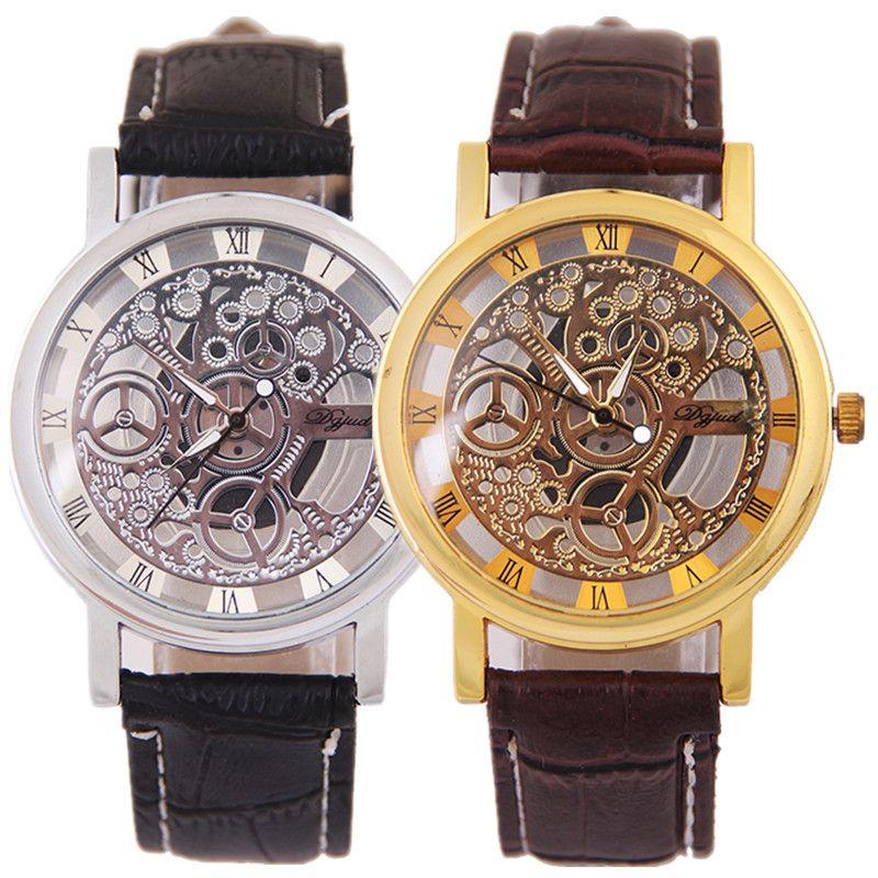 97b800da2562 Compre Reloj De Moda Coreano Reloj De Hombre Creativo Reloj De Pulsera  Hueco De Lujo Reloj De Pulsera De Cuarzo Informal No Mecánico Retro Cuero  De Negocios ...