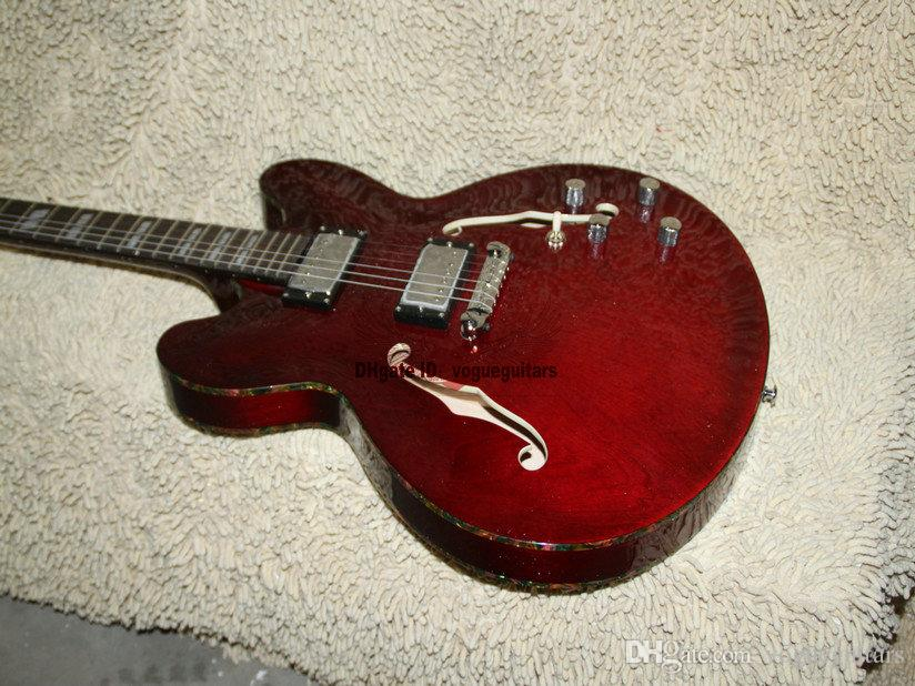 Custom Hollow Body Jazz Guitarra Eléctrica encuadernación en color negro cereza guitarras de china envío gratis