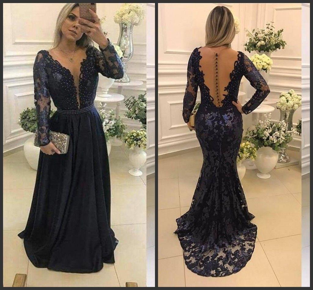 Dark Navy Long Prom Dresses 2018 Sheer O Neck Lace Appliqued Evening ...