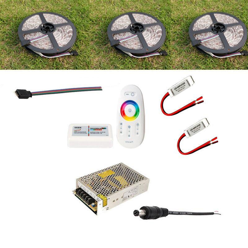 20m 15m 10m 5m 24V RGB LED Flexible Strip Light 5050 Waterproof Reel Rope + RF Touch Remote Controller Power Supply Adaptor + Mini Amplifier