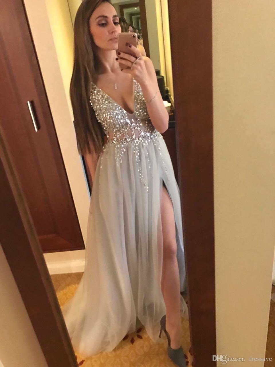 2018 Sexy Vestidos de Baile Profundo Decote Em V de Tule de Lantejoulas Alta Dividir Longo Cinza Vestidos de Noite Sheer Backless Vestidos de Festa À Noite de Qualidade Personalizada