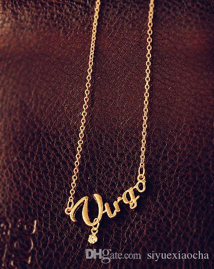 Auf dem Verkauf Modeschmuck 12 Tierkreiszeichen Brief Anhänger Halskette, Kaskle Halskette, Widder / Taurus / Zwillinge, mit Legierungsmaterial,