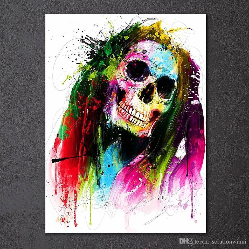 1 pièce Canavs Peinture HD Imprimé couleur Crâne Résumé Accrochage Pour Livraison gratuite Living Room