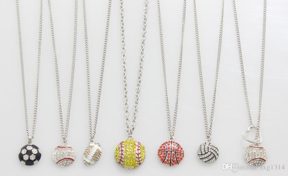 usa sports football soccer basketball volleyball baseball softball red drop oil heart yellow crystal necklace