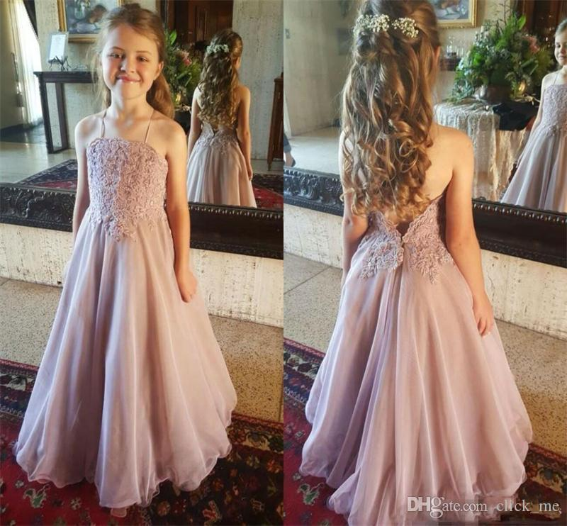 ddeb2e1e2038 Halter Backless Flower Girl Dresses For Wedding Lace Appliques A Line Girls  Pageant Gowns Cheap Floor Length Kids Formal Party Dresses Navy Blue Flower  Girl ...