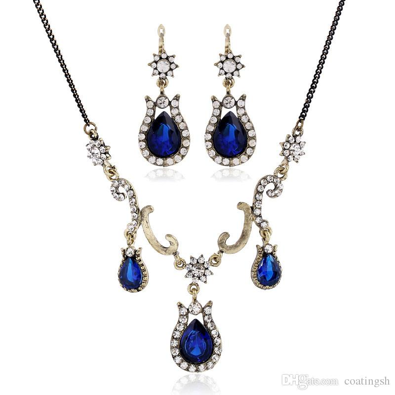 2018 Vintage Costume Blue Jewelry Sets Gold Chain Triple Drops