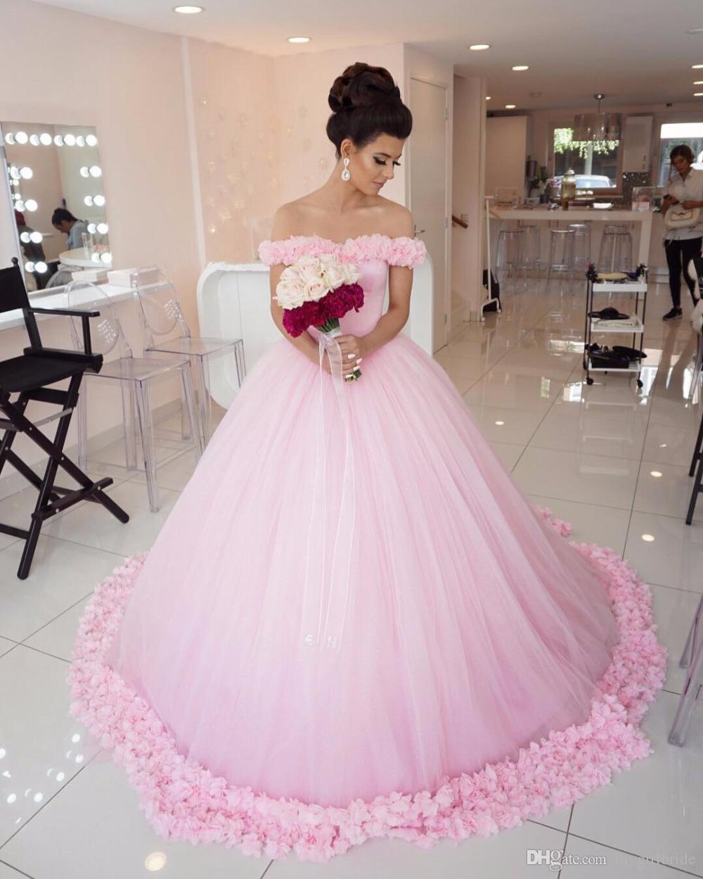 Compre Vestidos De Quinceañera Rosa De Flores De Bata De Baile ...