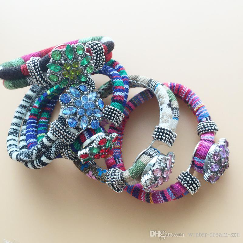 Adjustable Wristband 5Pcs National Bracelets 5Pcs 20mm Pretty Crystal Snap Buttons Interchangeable Jewelry Valentine Gift 10pcs/Lot F348E