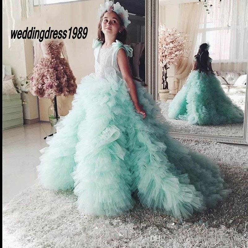 Mint Green Puffy Ball Gown Flower Girl Dresses 2017 Girl Pageant Gowns with Bow Lovely Kids Party Prom Dress Communion Dress