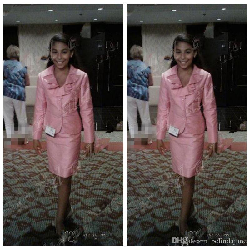 Rosa formale kleine Mädchen Festzug Kleider Nationale Interview Anzüge Beauty für Mädchen knielangen Abendkleider für Kinder Teens Kinder Kids Wear