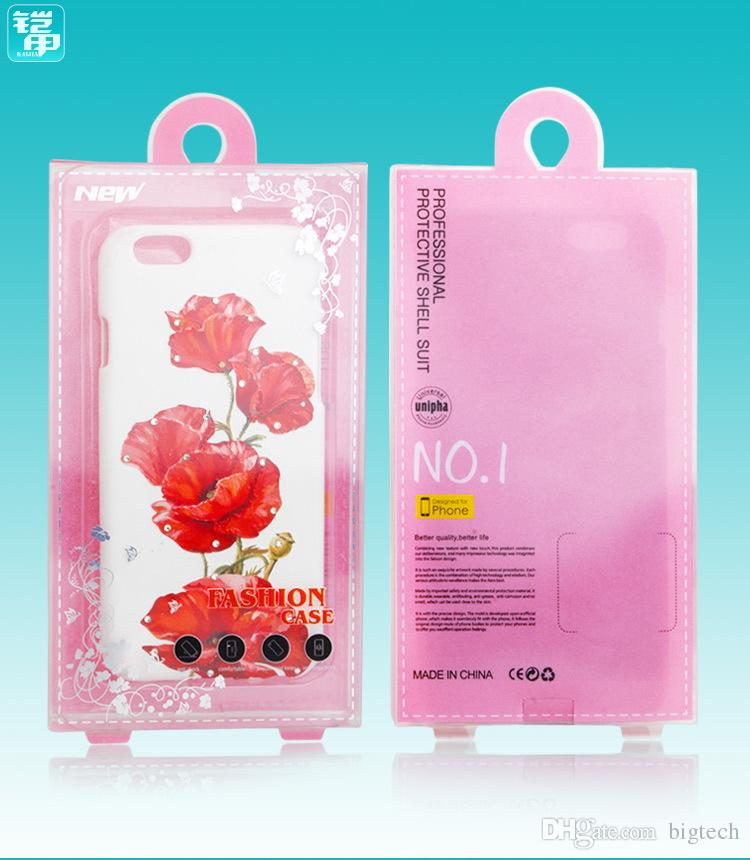 Wholesale Pink Color Retail PVC Plastic Phone Case Packaging for iphone 6 6plus 7 7plus Cell Phone Case with Inner Tray