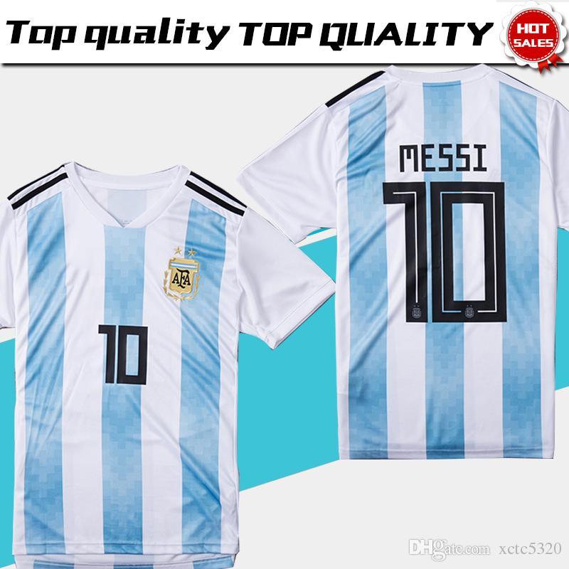 2018 Copa Del Mundo Argentina Soccer Jersey 2018 Argentina Camiseta De  Fútbol Local   10 MESSI   9 AGUERO   11 DI MARIA Uniforme De Fútbol Talla S  3XL Por ... 0e7e8a23dbf1d