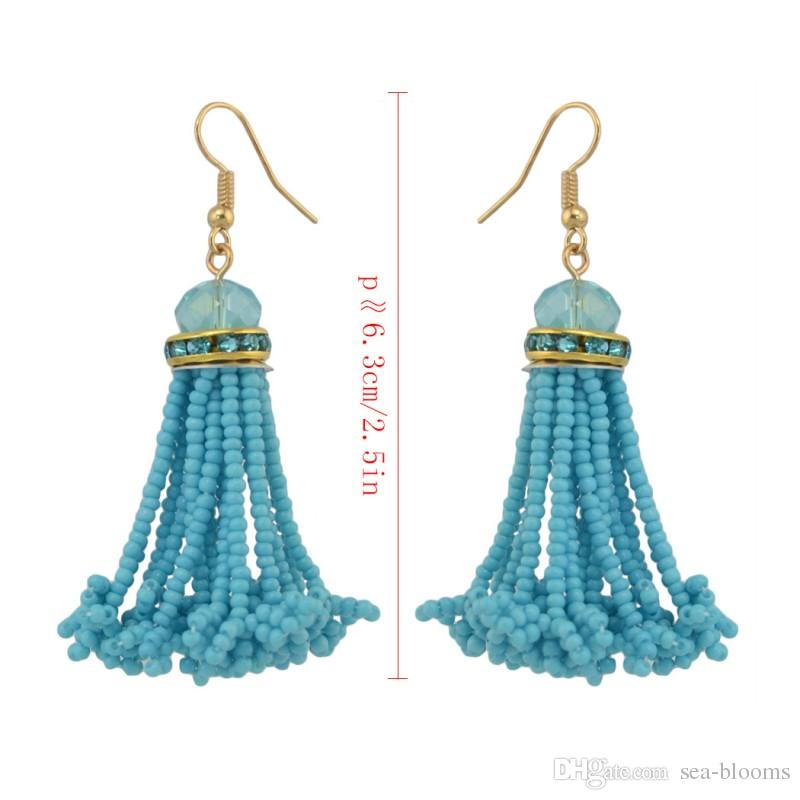 2017 Seed Bead Tassel Drop Earrings Long Dangle Vintage Earrings Wedding Party Casual Jewelry Earring Gift B660L