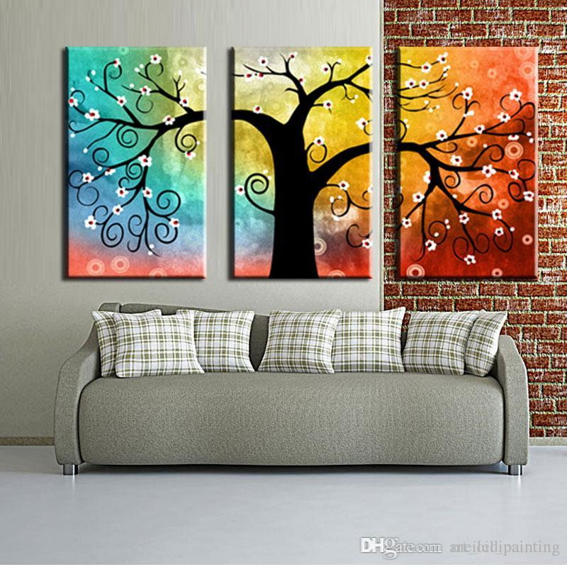 3 Picture Combination Wall Art Paintings Color Trees Prints On Canvas Landscape Painting For Modern Home Decor Tree Oil Paints
