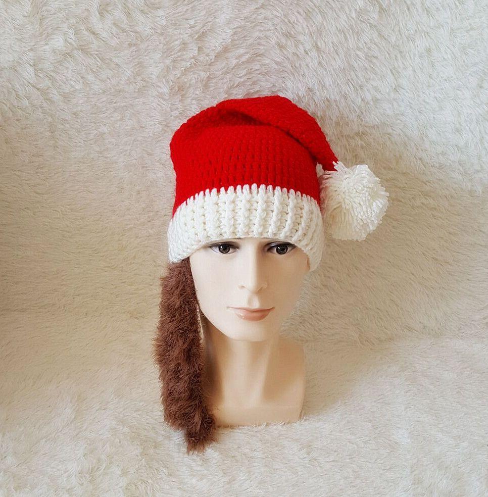 Autumn and winter Europe and the United States Halloween beard cap Christmas supplies adult Christmas hat beard handmade wool santa hat