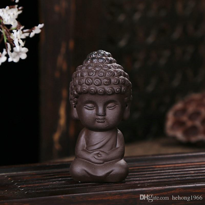 Ceramic Creative Little Monk Decorate Arts And Crafts Gift Buddha Redware For Home Tea Table Decor Articles 6dh C R