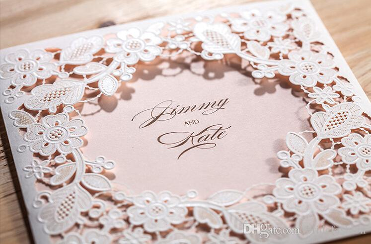 Pink Inner White Flower Elegant Cheap Laser Cut Wedding – Wedding Invitation Cards Cheap